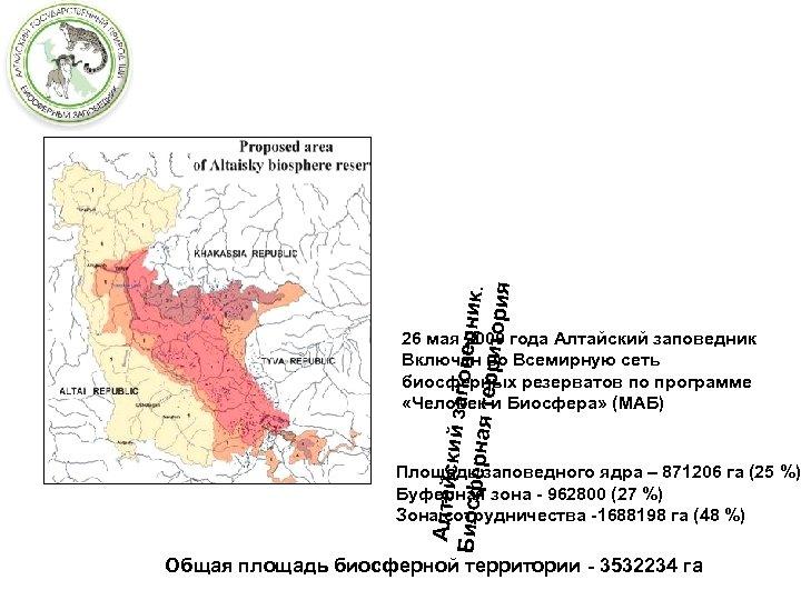 Алтайск и Биосфе й заповедник. рная те рритори я 26 мая 2009 года Алтайский