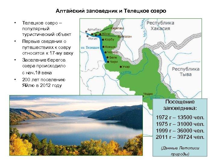 Алтайский заповедник и Телецкое озеро • • Телецкое озеро – популярный туристический объект Первые