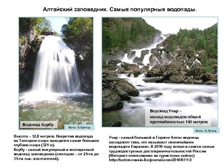 Алтайский заповедник. Самые популярные водопады. Водопад Корбу Водопад Учар – каскад водопадов общей протяжённостью