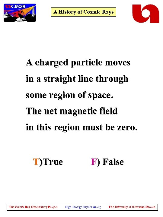 A History of Cosmic Rays A charged particle moves in a straight line through
