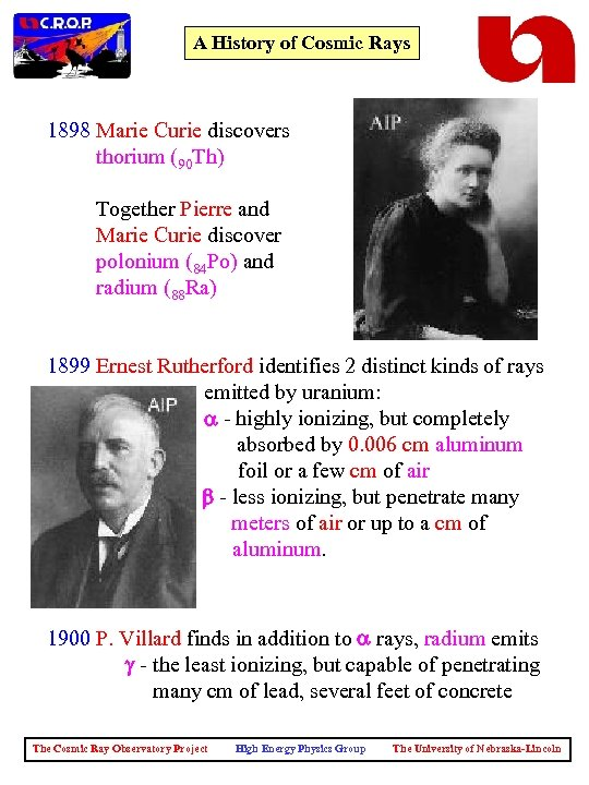A History of Cosmic Rays 1898 Marie Curie discovers thorium (90 Th) Together Pierre