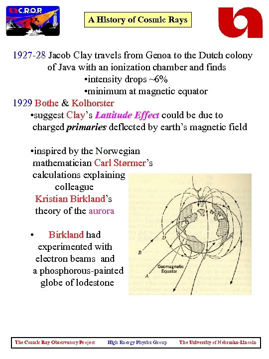 A History of Cosmic Rays 1927 -28 Jacob Clay travels from Genoa to the