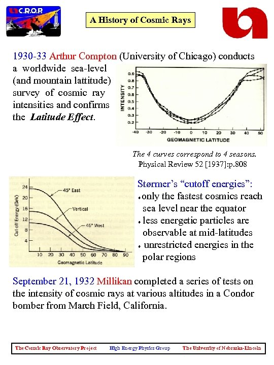 A History of Cosmic Rays 1930 -33 Arthur Compton (University of Chicago) conducts a