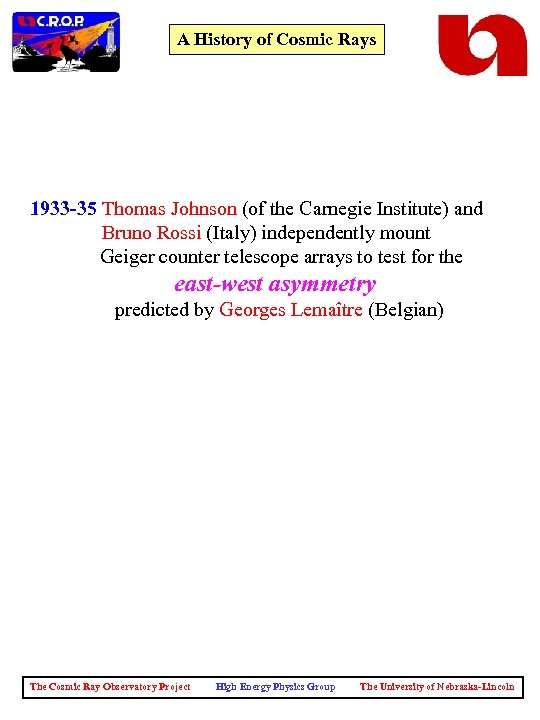 A History of Cosmic Rays 1933 -35 Thomas Johnson (of the Carnegie Institute) and