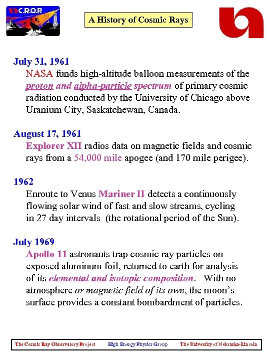 A History of Cosmic Rays July 31, 1961 NASA funds high-altitude balloon measurements of