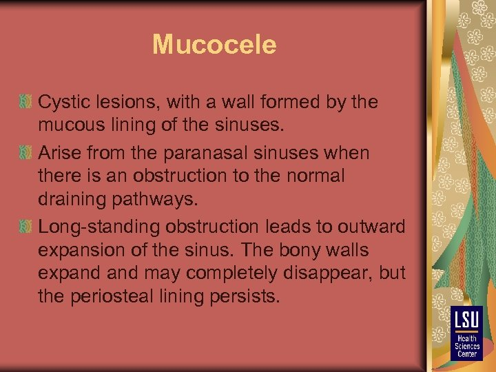 Mucocele Cystic lesions, with a wall formed by the mucous lining of the sinuses.