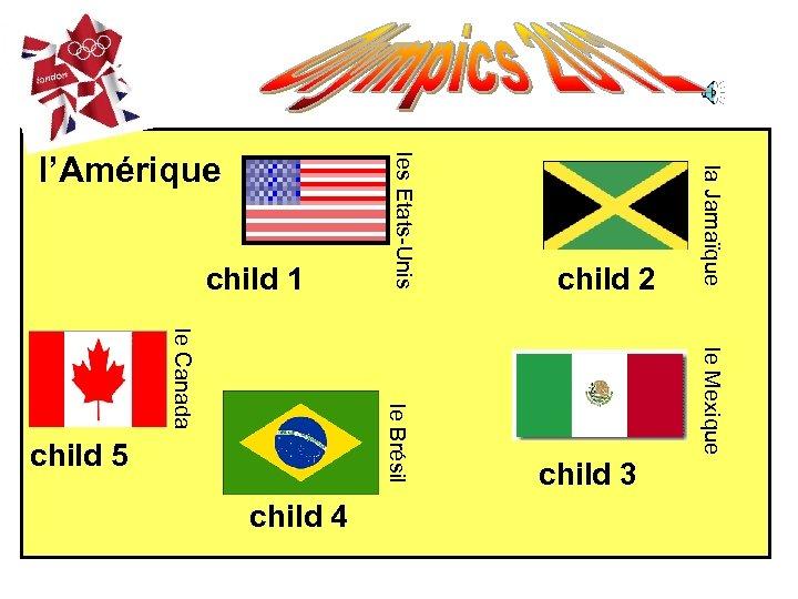 la Jamaïque le Mexique le Brésil le Canada child 4 child 3 child 5