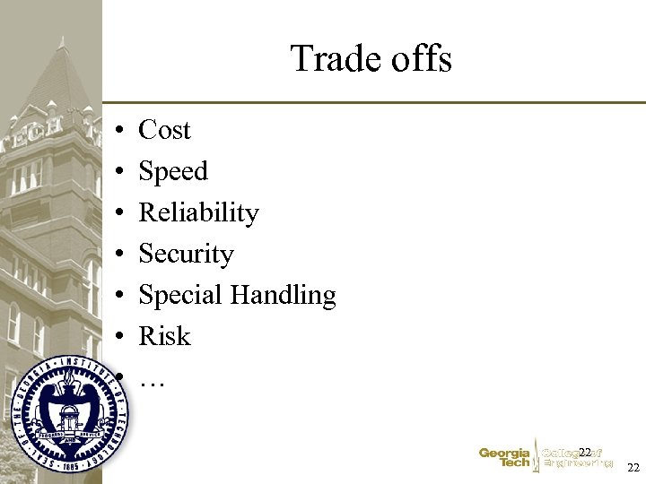 Trade offs • • Cost Speed Reliability Security Special Handling Risk … 22 22
