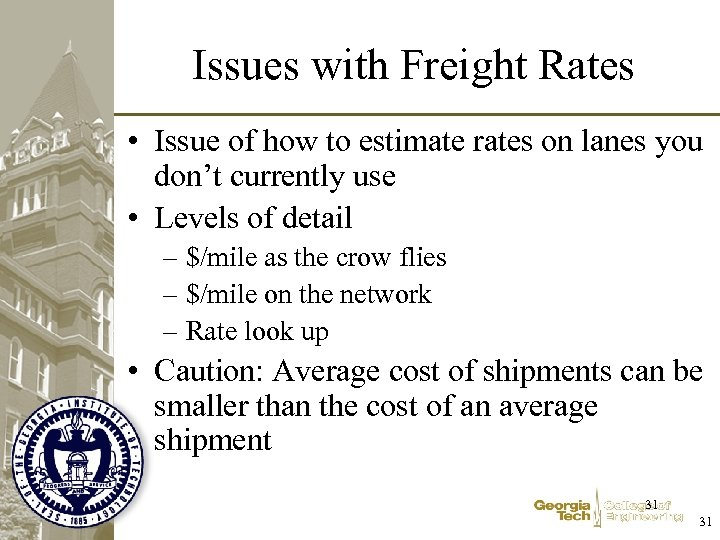 Issues with Freight Rates • Issue of how to estimate rates on lanes you