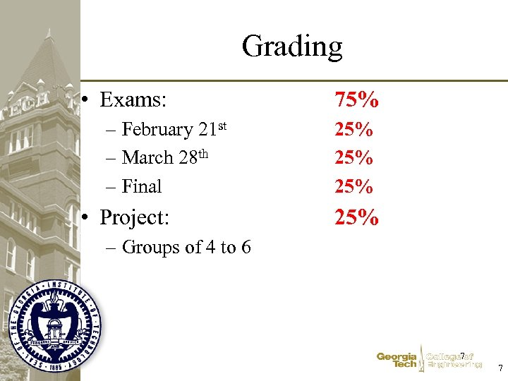 Grading • Exams: – February 21 st – March 28 th – Final •