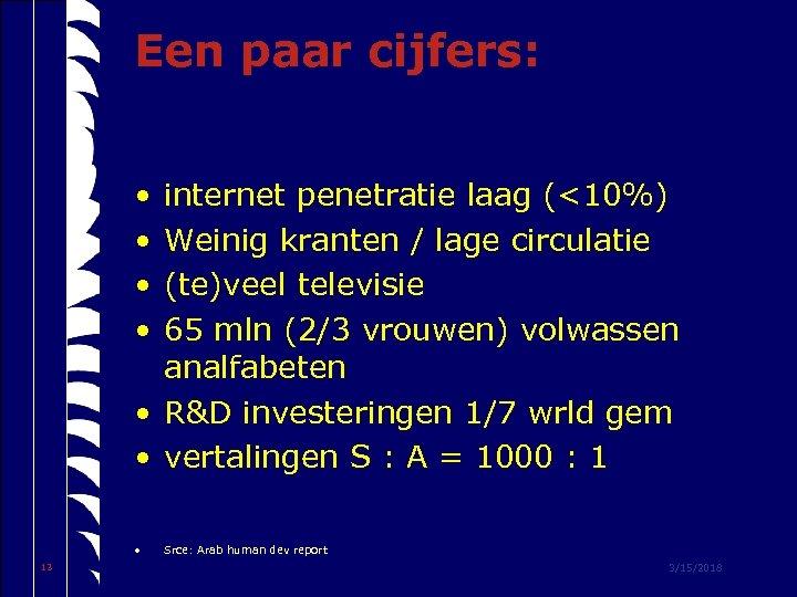 Een paar cijfers: • • internet penetratie laag (<10%) Weinig kranten / lage circulatie