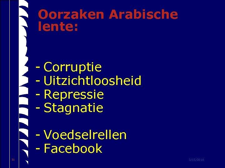 Oorzaken Arabische lente: - Corruptie - Uitzichtloosheid - Repressie - Stagnatie - Voedselrellen -