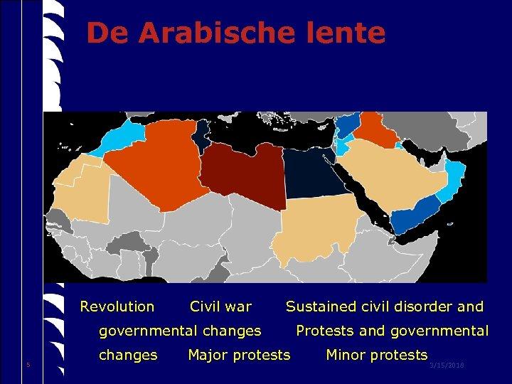De Arabische lente Revolution Civil war Sustained civil disorder and governmental changes 5 changes