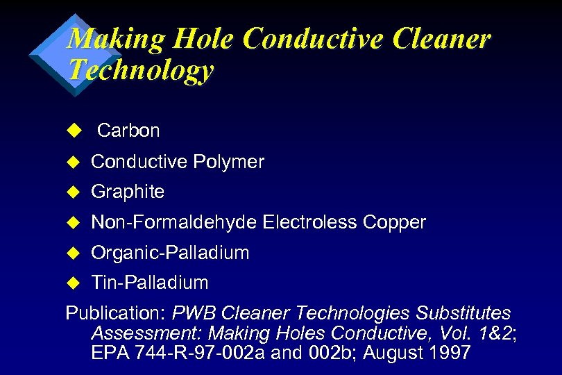 Making Hole Conductive Cleaner Technology u Carbon u Conductive Polymer u Graphite u Non-Formaldehyde