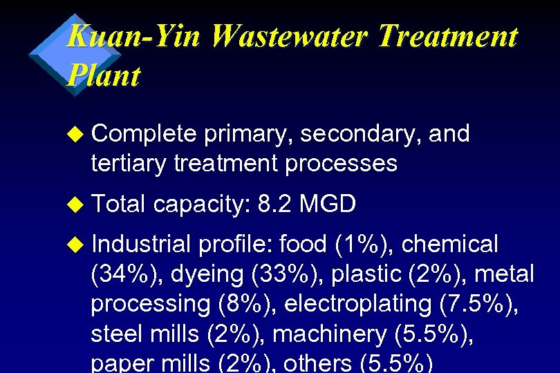 Kuan-Yin Wastewater Treatment Plant u Complete primary, secondary, and tertiary treatment processes u Total