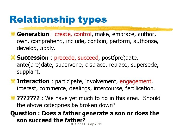 Relationship types z Generation : create, control, make, embrace, author, own, comprehend, include, contain,