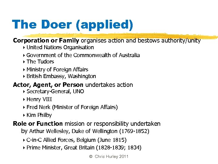 The Doer (applied) Corporation or Family organises action and bestows authority/unity United Nations Organisation