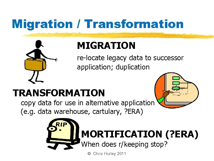 Migration / Transformation MIGRATION re-locate legacy data to successor application; duplication TRANSFORMATION copy data
