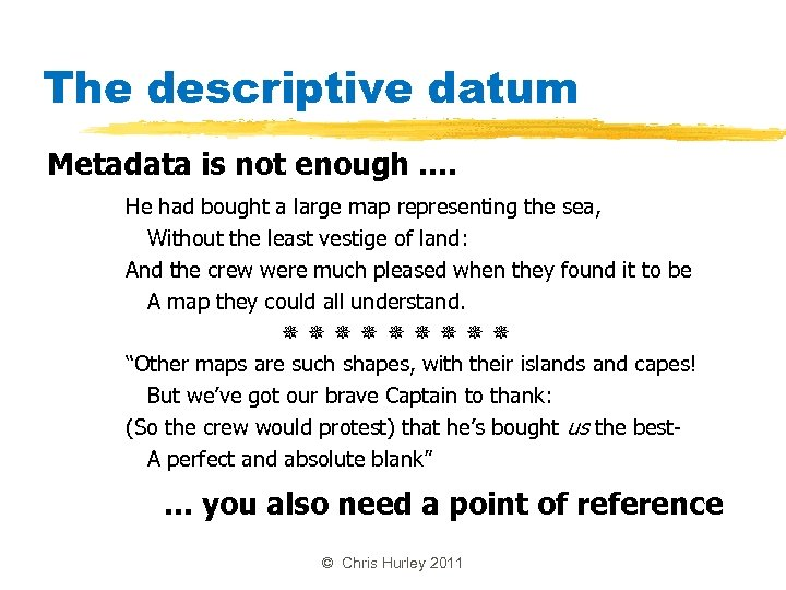 The descriptive datum Metadata is not enough. . He had bought a large map