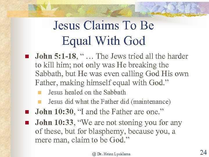 """Jesus Claims To Be Equal With God n John 5: 1 -18, """" …"""