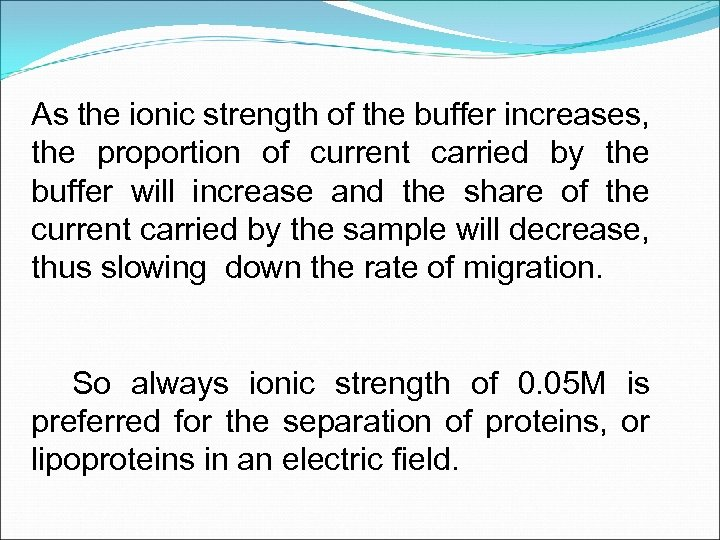 As the ionic strength of the buffer increases, the proportion of current carried by