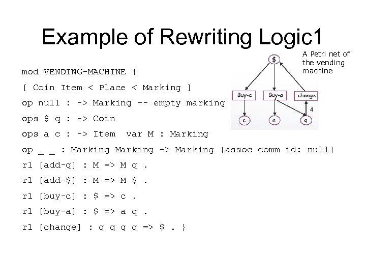 Example of Rewriting Logic 1 mod VENDING-MACHINE { A Petri net of the vending