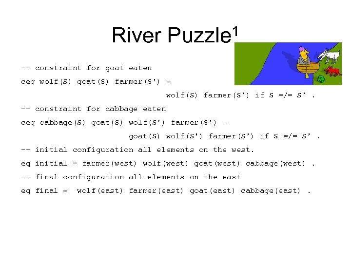 River Puzzle 1 -- constraint for goat eaten ceq wolf(S) goat(S) farmer(S') = wolf(S)
