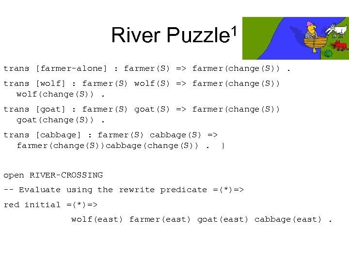 River Puzzle 1 trans [farmer-alone] : farmer(S) => farmer(change(S)). trans [wolf] : farmer(S) wolf(S)