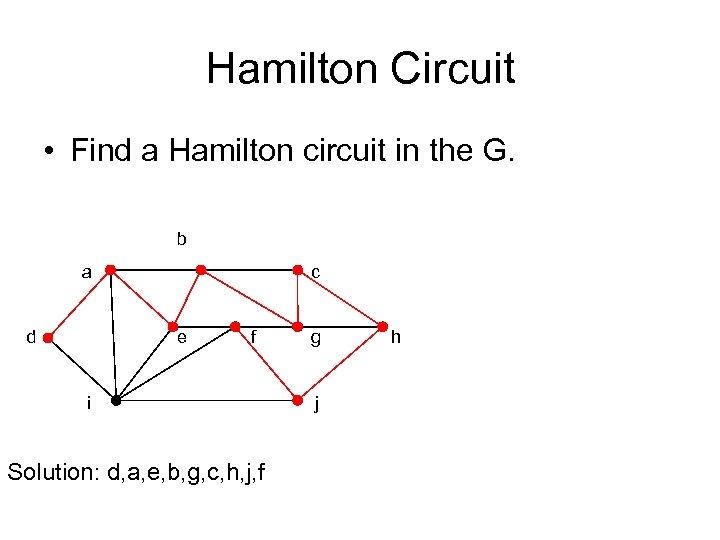 Hamilton Circuit • Find a Hamilton circuit in the G. b a d c