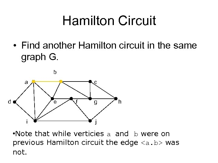 Hamilton Circuit • Find another Hamilton circuit in the same graph G. b a