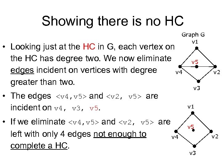 Showing there is no HC Graph G v 1 • Looking just at the