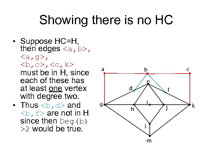 Showing there is no HC • Suppose HC=H, then edges <a, b>, <a, g>,