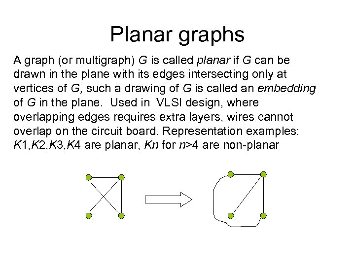 Planar graphs A graph (or multigraph) G is called planar if G can be