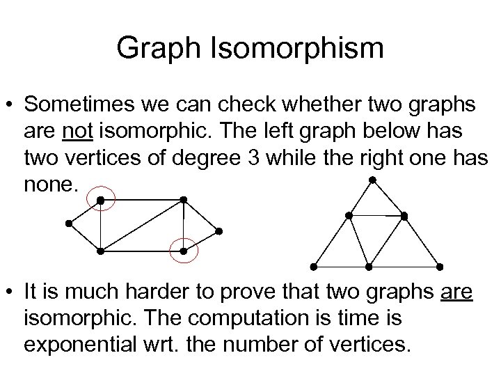 Graph Isomorphism • Sometimes we can check whether two graphs are not isomorphic. The