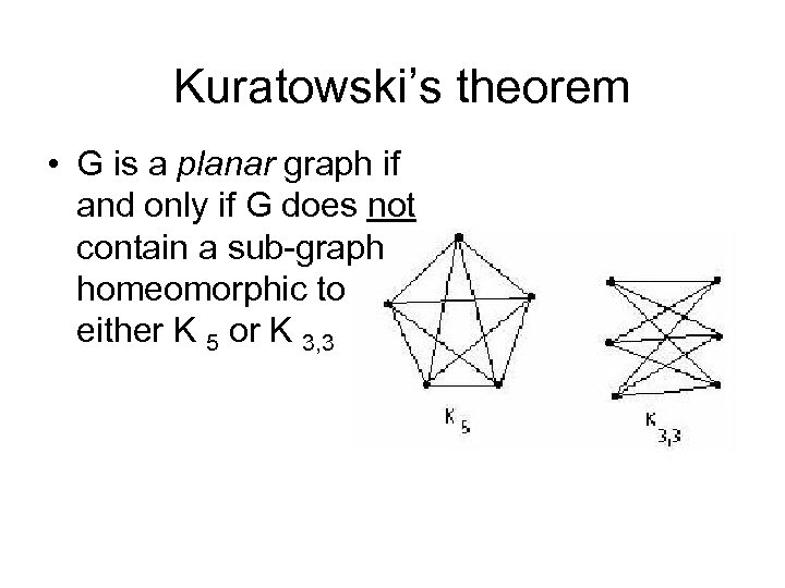 Kuratowski's theorem • G is a planar graph if and only if G does