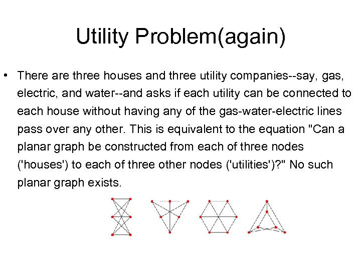 Utility Problem(again) • There are three houses and three utility companies--say, gas, electric, and