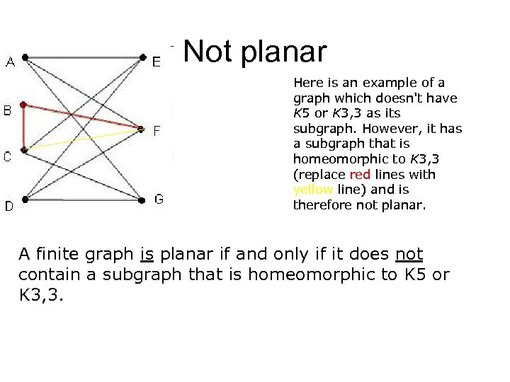 Not planar Here is an example of a graph which doesn't have K 5