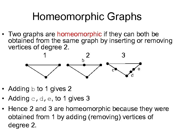 Homeomorphic Graphs • Two graphs are homeomorphic if they can both be obtained from