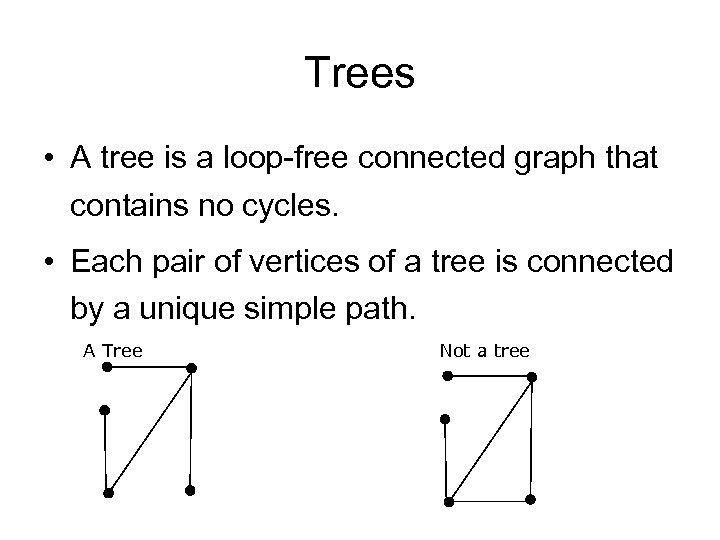 Trees • A tree is a loop-free connected graph that contains no cycles. •