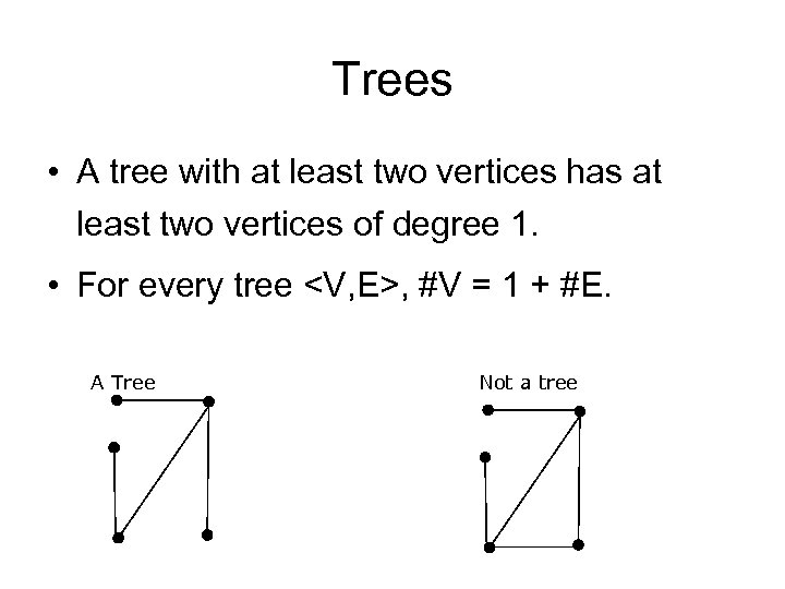 Trees • A tree with at least two vertices has at least two vertices