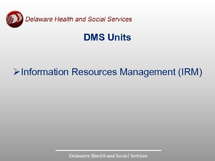 DMS Units Ø Information Resources Management (IRM) Delaware Health and Social Services