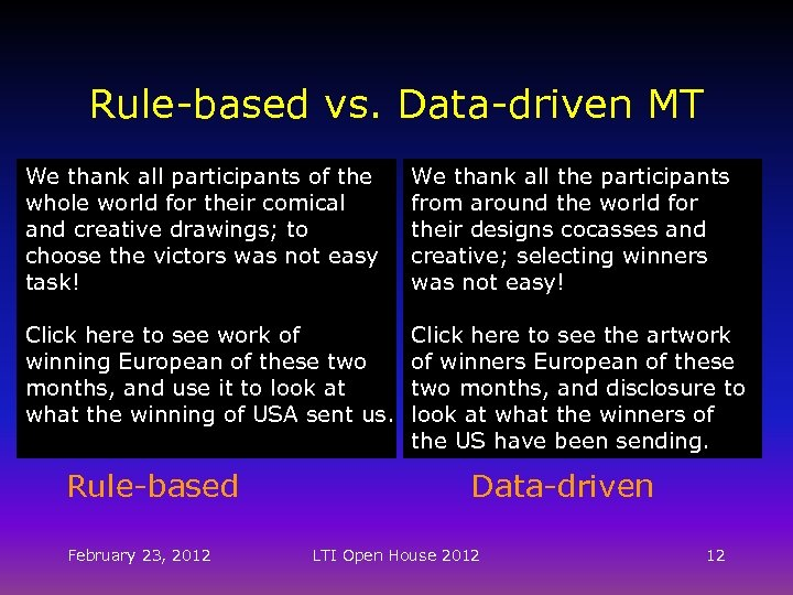 Rule-based vs. Data-driven MT We thank all participants of the whole world for their