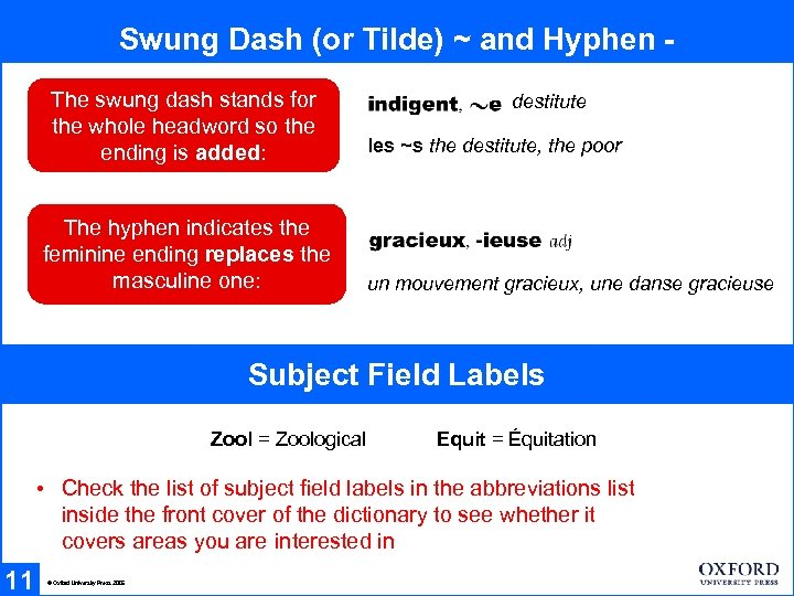 Swung Dash (or Tilde) ~ and Hyphen The swung dash stands for the whole