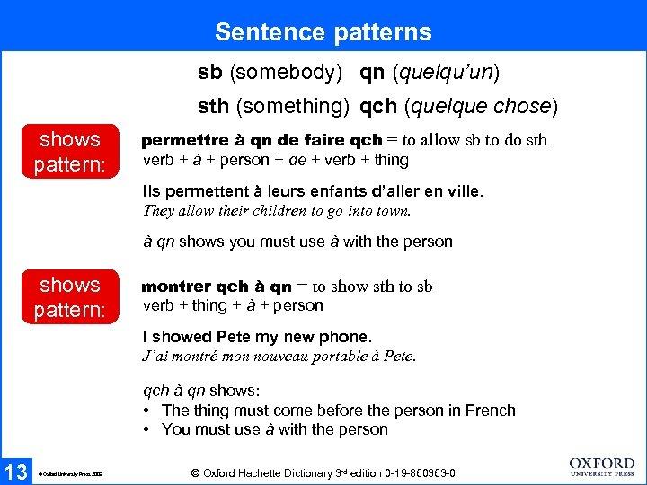 Sentence patterns sb (somebody) qn (quelqu'un) sth (something) qch (quelque chose) shows pattern: permettre