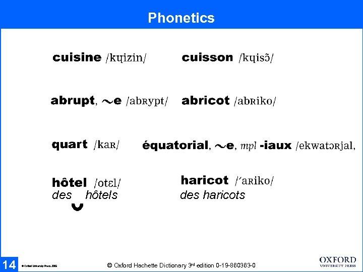 Phonetics des 14 © Oxford University Press 2005 hôtels des haricots © Oxford Hachette