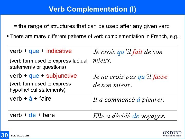 Verb Complementation (I) = the range of structures that can be used after any