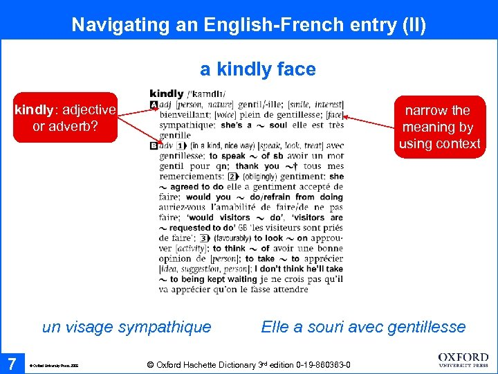 Navigating an English-French entry (II) a kindly face kindly: adjective or adverb? narrow the