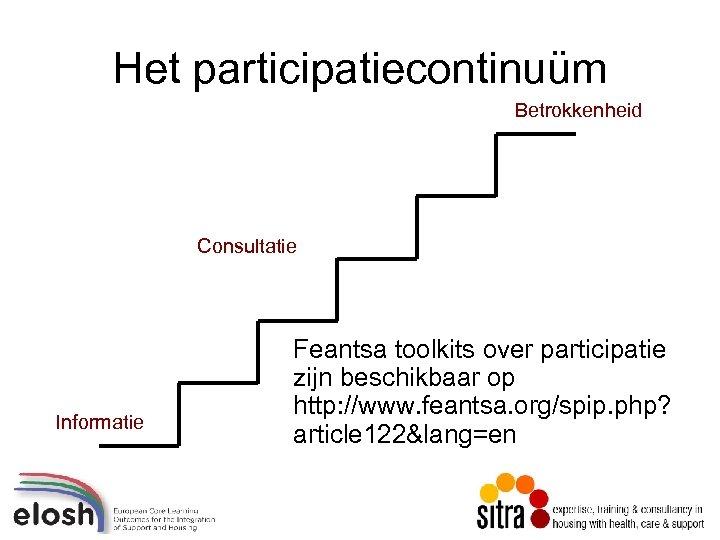 Het participatiecontinuüm Betrokkenheid Consultatie Informatie Feantsa toolkits over participatie zijn beschikbaar op http: //www.
