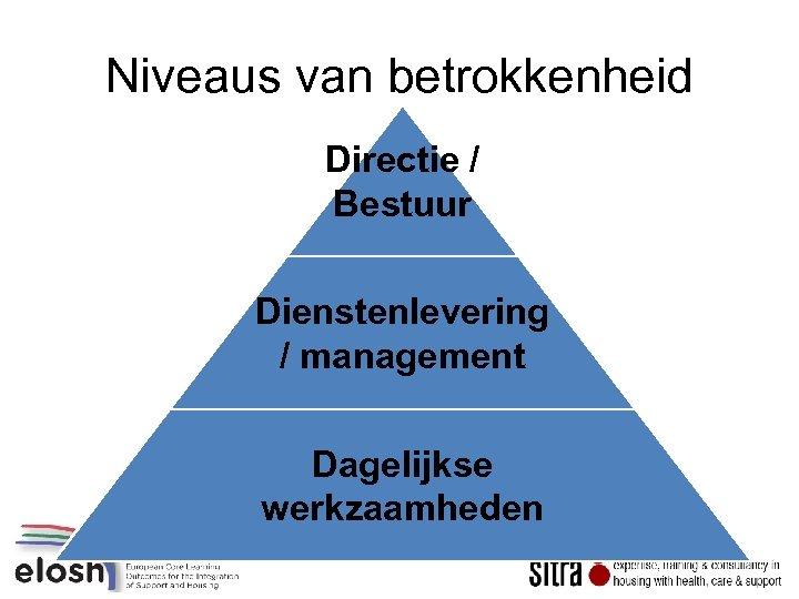 Niveaus van betrokkenheid Directie / Bestuur Dienstenlevering / management Dagelijkse werkzaamheden