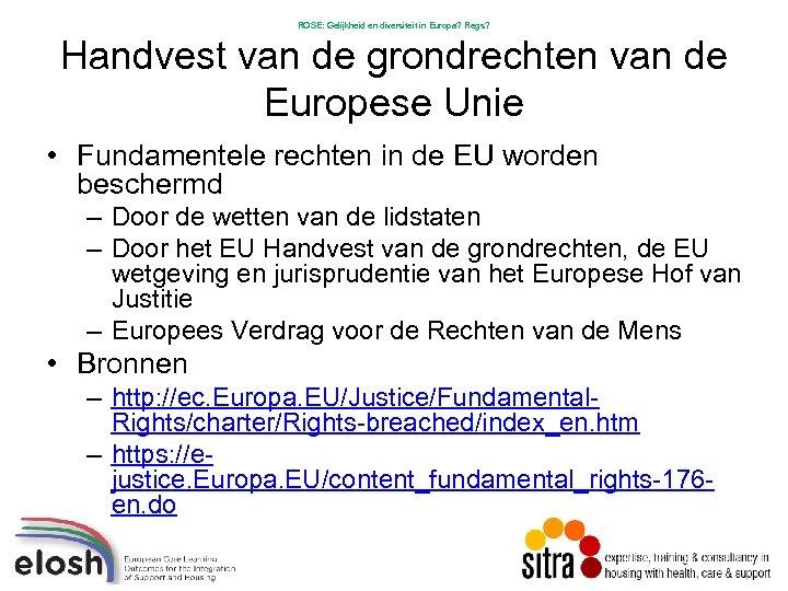 ROSE: Gelijkheid en diversiteit in Europa? Regs? Handvest van de grondrechten van de Europese